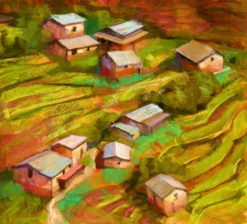 kathmandu village pastel & watercolor 12x11