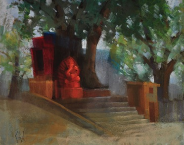 ganesh under the trees  pastel   11 x 14