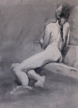 life drawing vine charcoal on canson