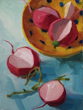 "radishes oil, 6x8"" sold"