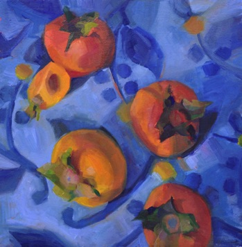"persimmons #3 oil, 16x16"" sold"