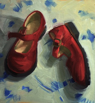 red shoes 2 oil, 12 x 11