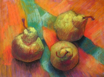 three pears with cambodian cloth, pastel  12x9 sold
